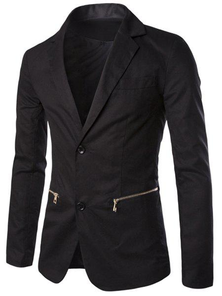 Casual Solid Color Pocket Zipper Blazer For Men - BLACK XL