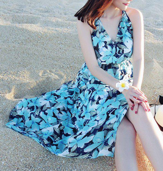 Chic Sleeveless Spaghetti Strap Floral Print Women's Dress - BLUE S