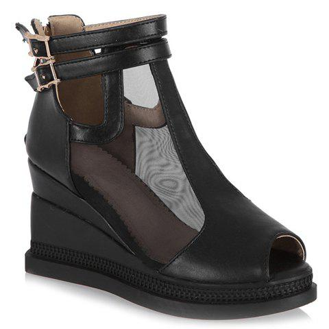 Casual Buckle Strap and Wedge Heels Design Peep Toe Shoes For Women