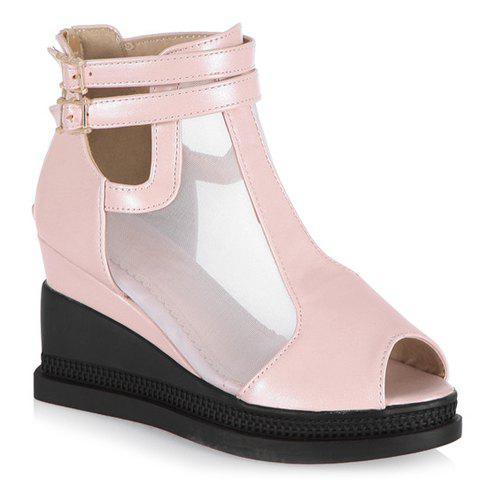 Casual Buckle Strap and Wedge Heels Design Peep Toe Shoes For Women - PINK 38
