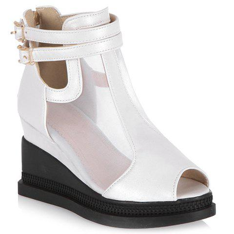 Casual Buckle Strap and Wedge Heels Design Peep Toe Shoes For Women - WHITE 37