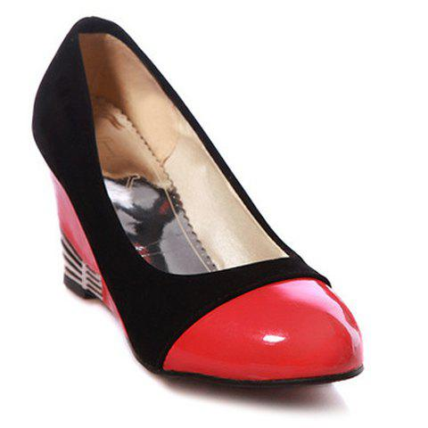 Stylish Splicing and Color Block Design Women's Wedge Shoes