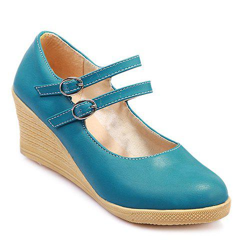 Casual Platform and Double Buckle Design Women's Wedge Shoes - BLUE 39
