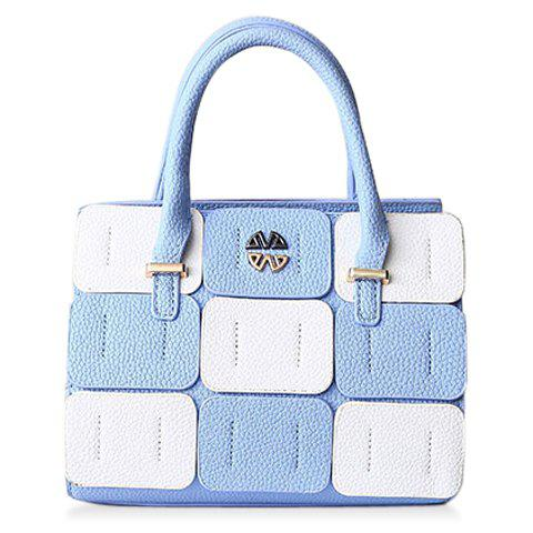 Trendy Color Block and Patchwork Design Women's Tote Bag - LIGHT BLUE