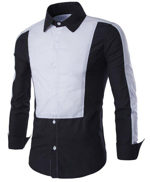 Elegant Turn-Down Collar Hit Color Splicing Long Sleeve Men's Shirt - BLACK L