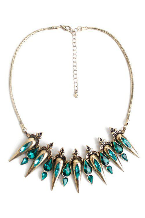Retro Faux Crystal Water Drop Necklace - GREEN