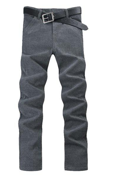 Straight Leg Solid Color Exquisite Pocket Zipper Fly Men's Pants - LIGHT GRAY 29