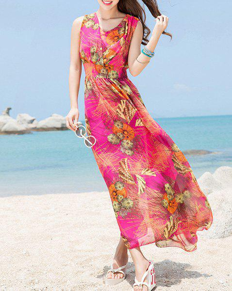 Bohemian Sleeveless V Neck Printed Women's Dress - ROSE XL