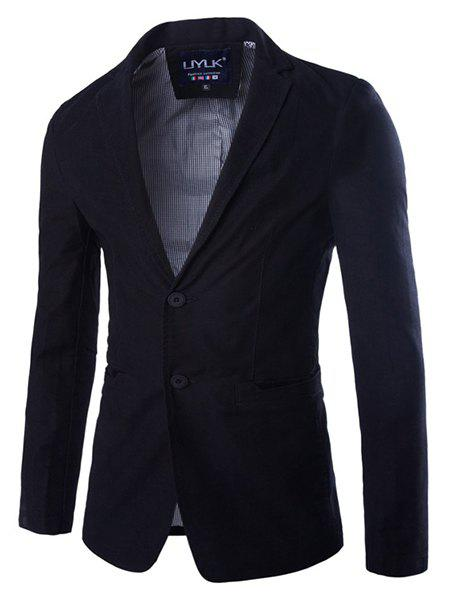 Casual Solid Color Single Breasted Blazer For Men - BLACK 2XL