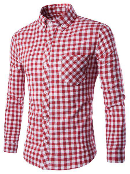 Turn-Down Collar Long Sleeve Slimming Checked Button-Down Mens ShirtMen<br><br><br>Size: L<br>Color: RED