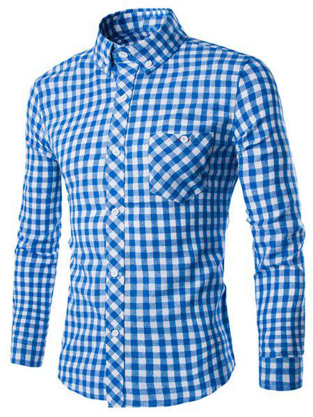 Turn-Down Collar Long Sleeve Slimming Checked Button-Down Men's Shirt - BLUE M
