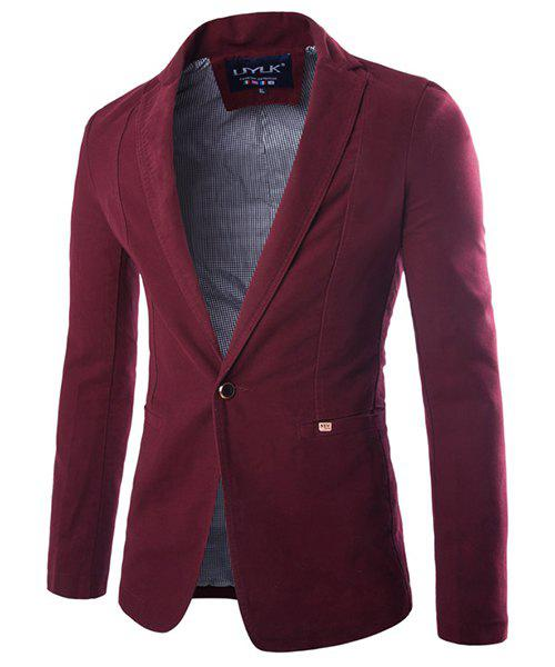 Casual Single Breasted Solid Color Blazer For Men - RED 3XL
