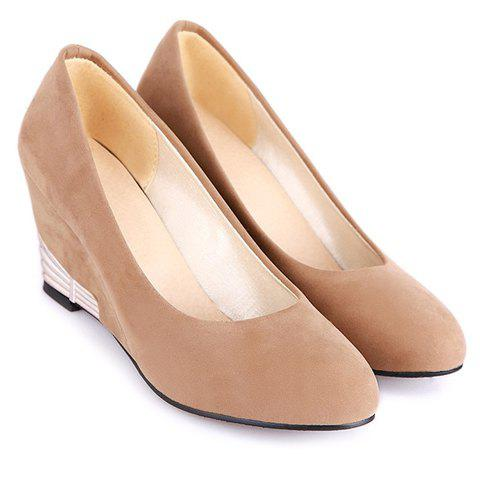 Stylish Solid Colour and Flock Design Women's Wedge Shoes - CAMEL 35