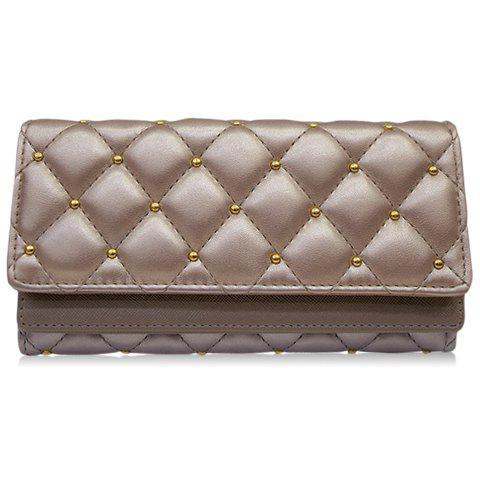 Stylish Checked and Rivet Design Wallet For Women