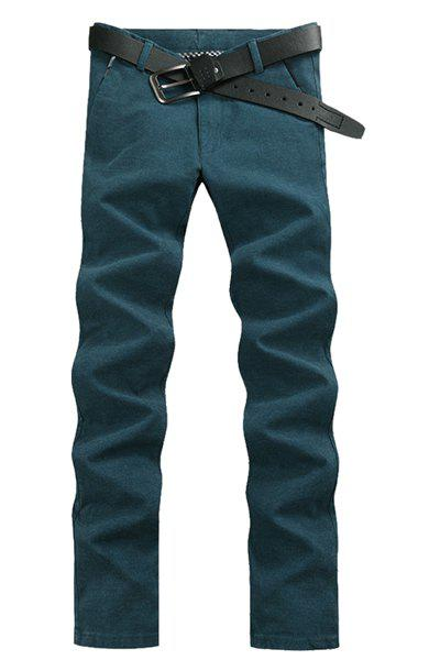 Laconic Style Straight Leg Solid Color Zipper Fly Men's Pants - LAKE BLUE 34