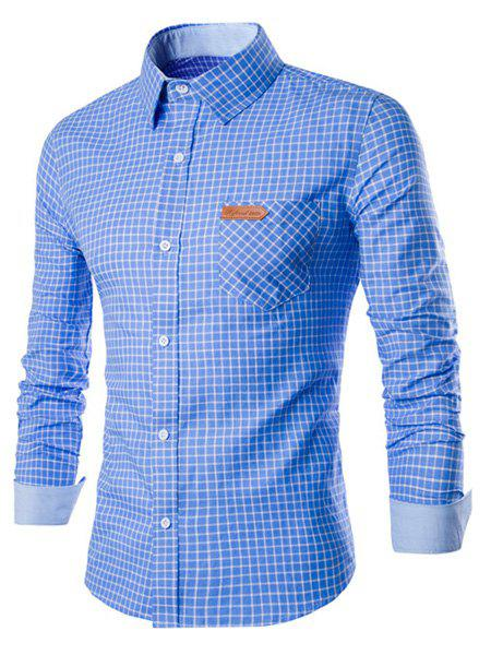 Turn-Down Collar Long Sleeve Slimming Checked Leather Tag Men's Shirt - BLUE XL