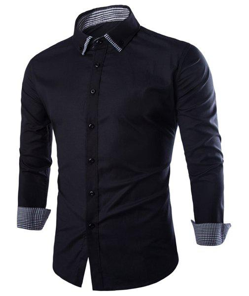 Slimming Double Lapel Plaid Spliced Men's Long Sleeves Shirt - BLACK M