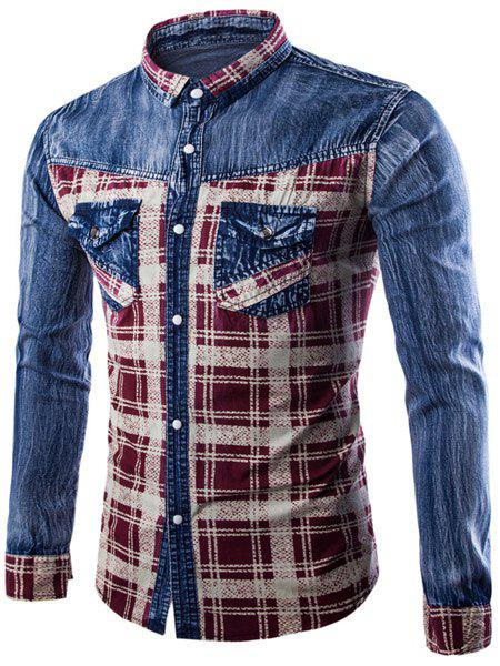 Casual Single Breasted Turn Down Collar Plaid Denim Shirt For Men - WINE RED L