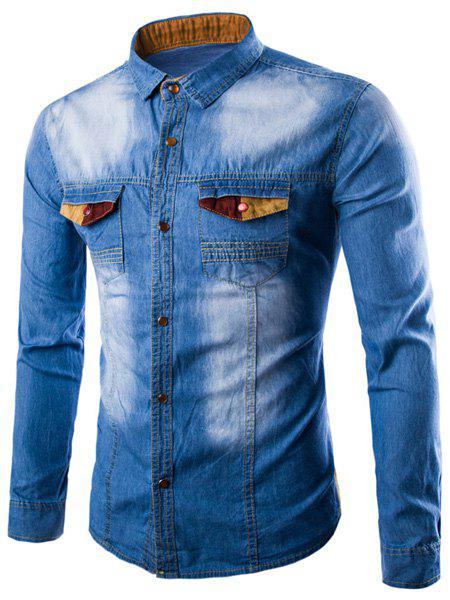 Casual Single Breasted Turn Down Collar Denim Shirt For Men - LIGHT BLUE M