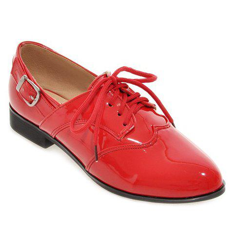Concise Patent Leather and Buckle Design Women's Flat Shoes - RED 38