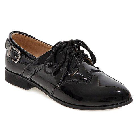 Concise Patent Leather and Buckle Design Women's Flat Shoes - BLACK 39