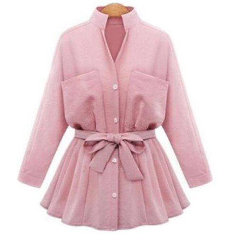 Graceful Stand-Up Collar Long Sleeve Solid Color Bowknot Belted Blouse For Women - PINK 2XL