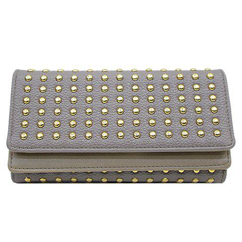 Trendy Rivets and Solid Color Design Women's Wallet - GRAY