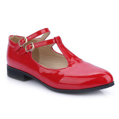 Fashionable Double Buckle and T-Strap Design Women's Flat Shoes - RED 36
