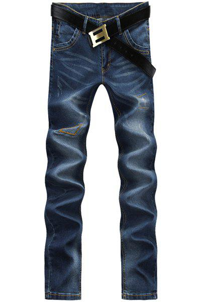 Simple Straight Leg Bleach Wash Cat's Whisker Ripped Design Zipper Fly Men's Jeans - BLUE 28