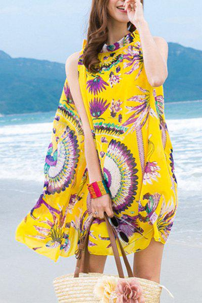 Bohemian Sleeveless Stand Collar Printed Loose-Fitting Women's Dress - YELLOW S
