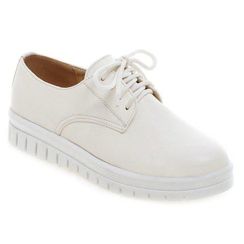 Concise PU Leather and Lace-Up Design Women's Flat Shoes - WHITE 36