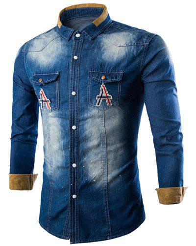 Casual Letter Printed Single Breasted Turn Down Collar Denim Shirt For Men - DEEP BLUE XL