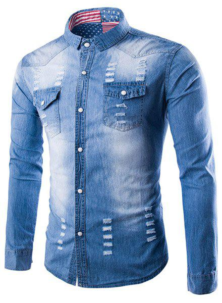 Turn-Down Collar Cat's Whisker Design Flag Lining Long Sleeve Denim Shirt For Men - LIGHT BLUE XL