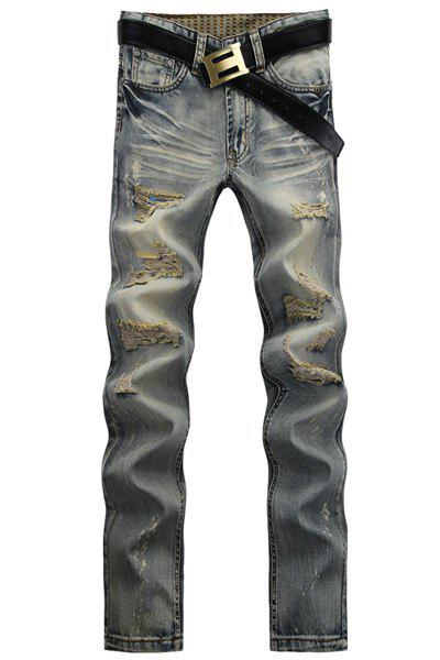 Straight Leg Bleach Wash Worn-Out Design Zipper Fly Men's Jeans - GRAY 36