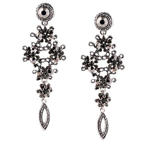 Noble Exaggerated Rhinestone Earrings For Women - BLACK