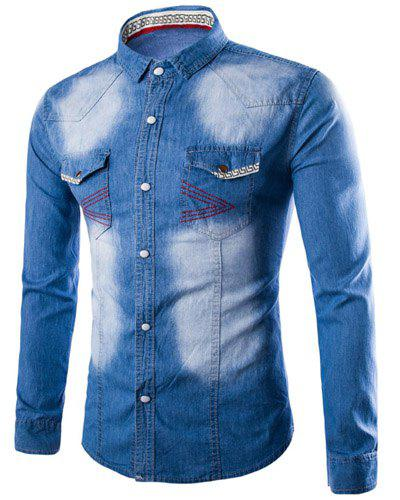 Casual Pocket Single Breasted Turn Down Collar Denim Shirt For Men - BLUE 3XL