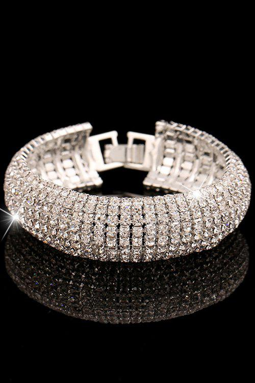 Dazzling Rhinestoned Bracelet For Women - SILVER