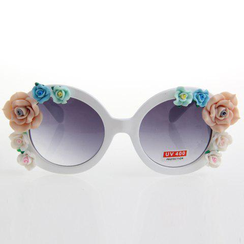 Chic Flower Embellished Women's White Sunglasses - WHITE