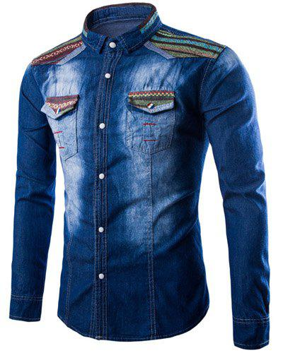 Casual Chest Pocket Single Breasted Turn Down Collar Denim Shirt For Men