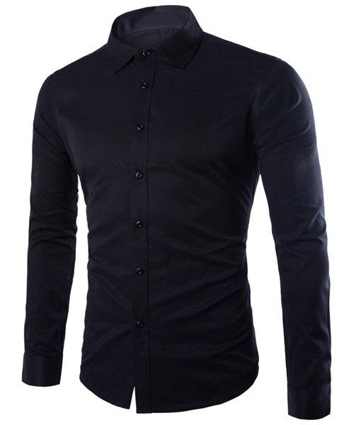 Refreshing Slimming Lapel Long Sleeves Solid Color Shirt For Men - 2XL BLACK