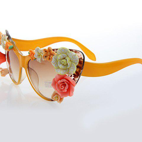Chic Flower Embellished Summer Women's Orange Cat Eye Sunglasses - ORANGE