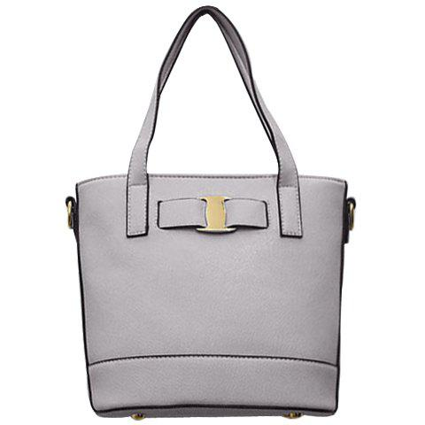 Stylish Solid Colour and Metal Design Women's Tote Bag - GRAY