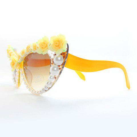 Chic Yellow Flower and Faux Pearl Embellished Summer Women's Sunglasses - ORANGE