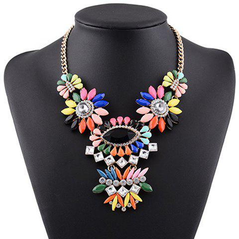 Stunning Exaggerated Rhinestone Floral Water Drop Necklace For Women - BLACK