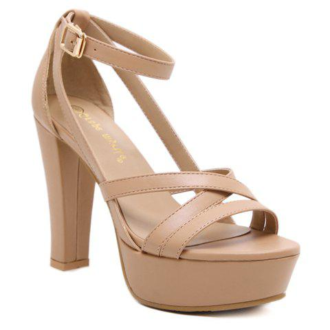 Fashionable PU Leather and Ankle Strap Design Sandals For Women - KHAKI 36