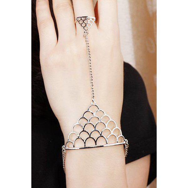 Hollow Out Fish Scales Shape Bracelet With Ring - ONE-SIZE SILVER