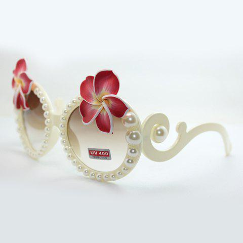 Chic Big Flower and Faux Pearl Embellished Women's White Sunglasses - WHITE