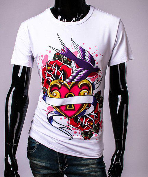 3D Heart Lock and Bird Print Round Neck Short Sleeve Men's T-Shirt - WHITE 2XL