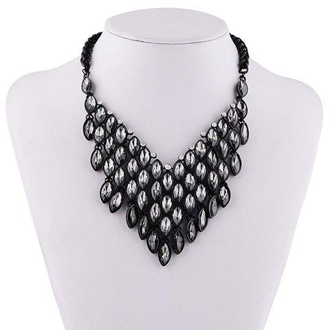 Chic Rhinestoned Faux Crystal Oval Necklace For Women - GRAY