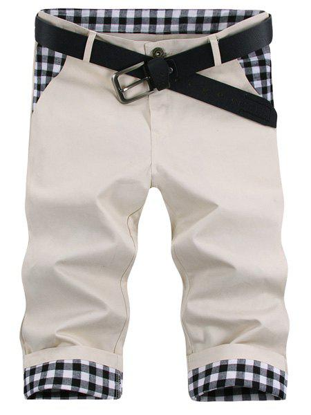 Modish Straight Leg Plaid Print Splicing Zipper Fly Mens ShortsMen<br><br><br>Size: 32<br>Color: OFF-WHITE